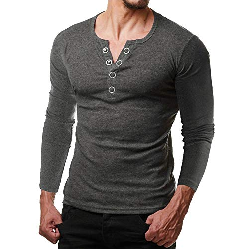Toimoth Fashion Men Fit Halloween Short Sleeve Button Blouse Pollover Shirt Solid Top (Deep GrayB,2XL) (Defense Top Coat)