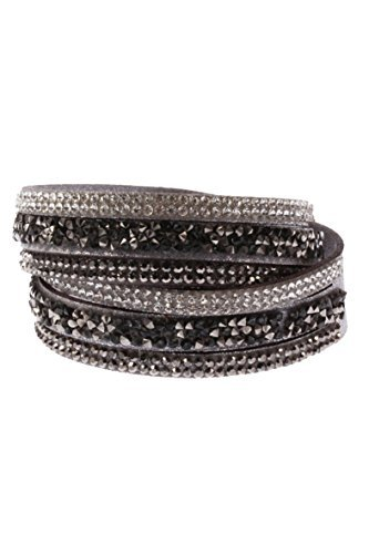 TOOGOO(R) Men's Women's Rivets Rhinestones Multi Layers Faux Leather Bracelet Bangle Grey (Rivet Bangle Leather)