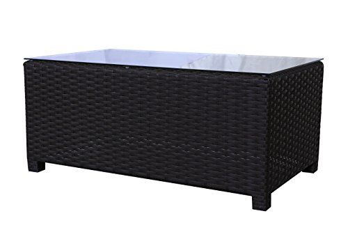 Teva Patio Furniture 104CT Viro Wicker Coffee Table with Glass Top MauiCollection -
