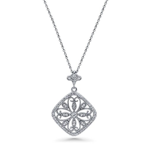 BERRICLE Rhodium Plated Sterling Silver Cubic Zirconia CZ Flower Art Deco Filigree Wedding Pendant Necklace