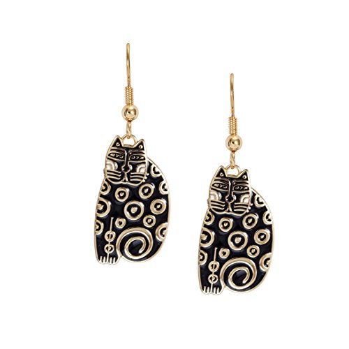Laurel Burch Sundry Cat Black Cloisonne Dangle Earrings ()