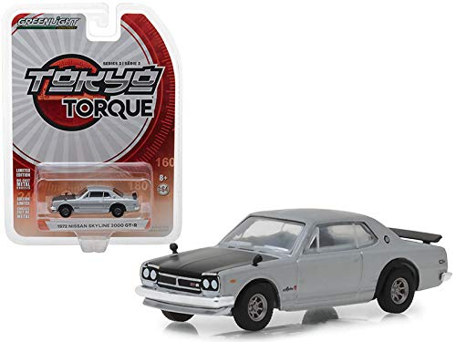StarSun Depot 1972 Nissan Skyline 2000 GT-R Silver with Black Hood Tokyo Torque Series 3 1/64 Diecast Model Car by Greenlight