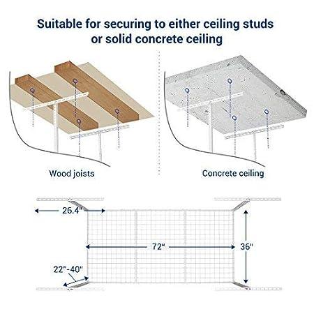 2-Rack-Package Black 2 pcs 3x6 Heavy Duty Overhead Garage Adjustable Ceiling Storage Rack, 72 Length x 36 Width x 40 Height FLEXIMOUNTS