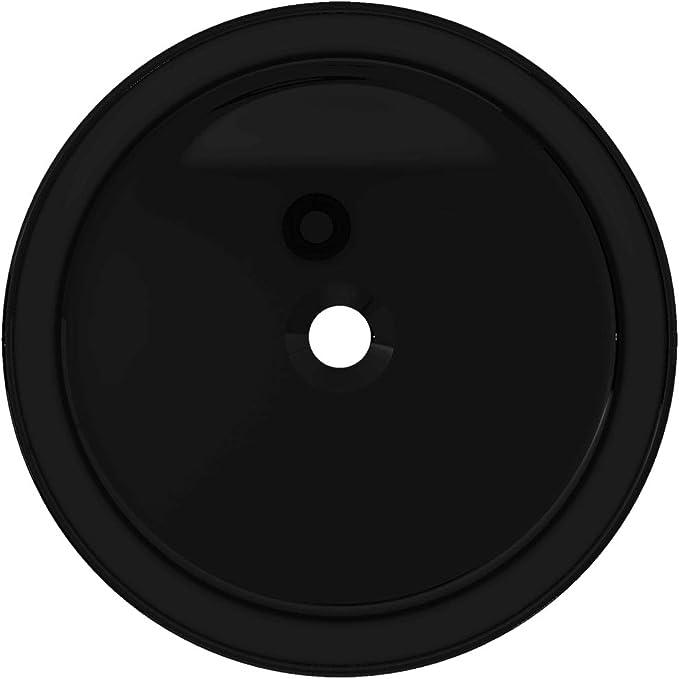 vidaXL Lavabo Rond C/éramique Noir 40x15 cm Vasque Evier Salle de Bain Toilette