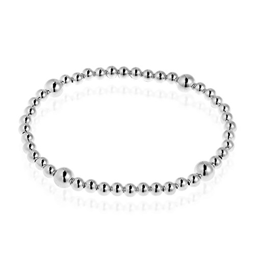 Sterling Silver Elastic - AeraVida Sleek Elastic Sterling Silver Beads Stretch Bracelet