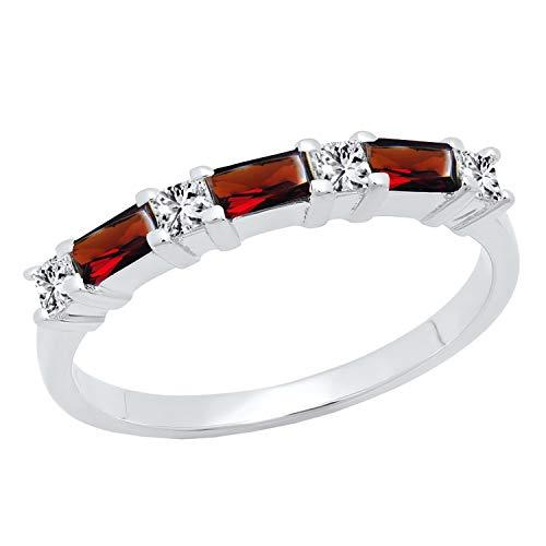 Dazzlingrock Collection 10K 4X2 MM Baguette Garnet & Princess Diamond Ladies Wedding Band, White Gold, Size 6.5 ()