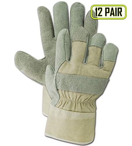 Economy Leather Palm Gloves - Magid Safety DuraMaster TB725IEWB Glove | Leather Economy Gloves with a Cow Split Leather Palm, Wing Thumb & Polyethylene Cuff - Large, Gray (12 Pairs)