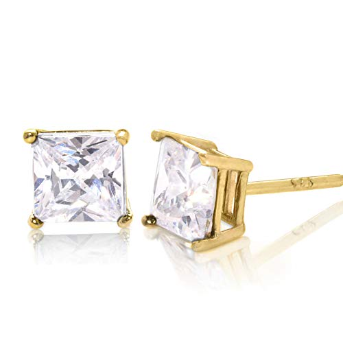 Square Princess Cut 6mm white Cubic Zirconia .925 Sterling Silver Gold Plated Basket Setting Unisex Stud - Settings Gold Square
