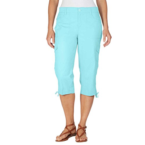 Long Shorts Capri Pants (Gloria Vanderbilt Women's Lightweight Cargo Skimmer Capri, Aqua Sky, 8)