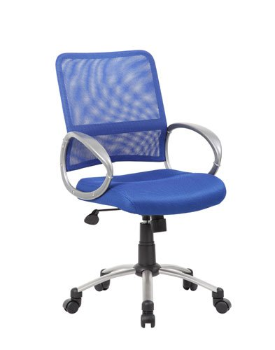 Boss Office Products B6416-BE Mesh Back Task Chair with Pewter Finish in Blue