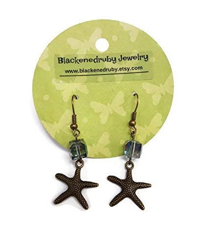 Bronze Starfish Earrings with Cube beads - nickel free, -