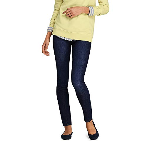 Lands' End Women's Petite Mid Rise Pull On Skinny Blue Jeans, 8 26, Evening Sky -