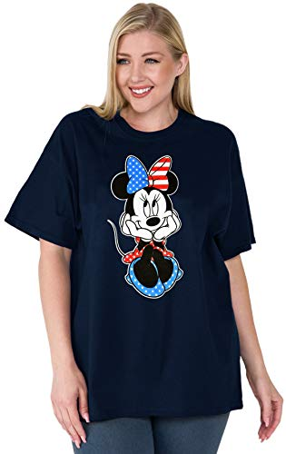 Disney Womens Plus Size T-Shirt Minnie Mouse American Flag Print (Navy, ()