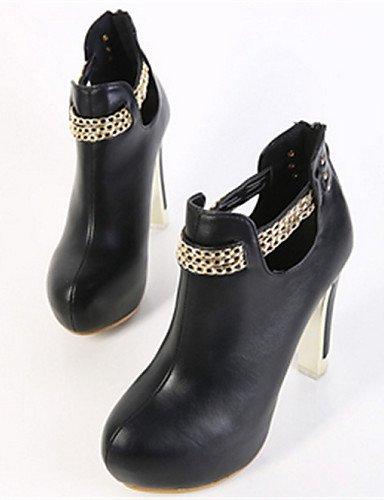 us8 Xzz Casual Stiletto Blanco Zapatos Semicuero Negro Cn39 Black us6 De Uk4 Eu39 Mujer Eu36 Cn36 White Uk6 Puntiagudos Tacón Botas rw7r0I
