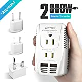 TryAce 2000W Voltage Converter with 2 USB Ports,Set Down 220V to 110V Power Converter for Hair Dryer /Straightener /Curling Iron, Travel Transformer for UK/AU/US/EU Plug Travel Adapter(Exclusive) (White)