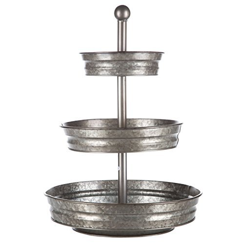 Metal Serveware - 1 x 3 Tier Galvanized Round Metal Stand Outdoor Indoor Serveware