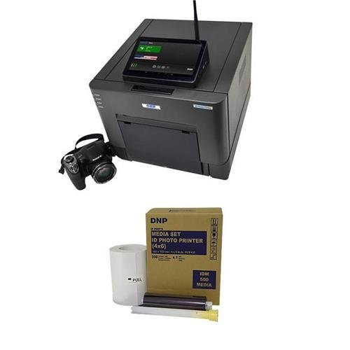 DNP IDW500 Passport and ID Photo Solution Set, Includes IDW-SH30 Sony Camera, FlashAir Card, Touchscreen Monitor and ID Photo Printer 4x6 Paper and Ink Roll Media Set (Media Roll Output)
