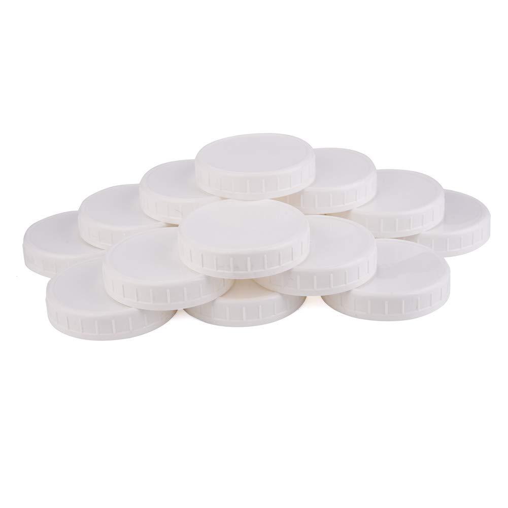 ; 2 Dozen Unlined White Ribbed Lids Two Dozen Wide Mouth Plastic Mason Jar Lids 24-Pack Bundle