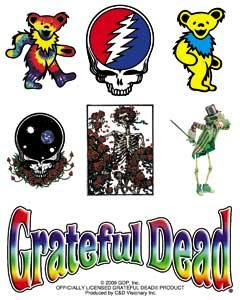 GRATEFUL DEAD Assorted assortito Icons Icone STICKER ADESIVO Sets - Officially Licensed Classic Rock GDP Artwork, 5' X 4', Long Lasting Sticker DECAL 5 X 4 Officially Licensed & Trademarked Products S-6077-C