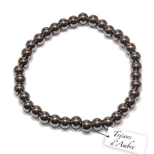 Bracelet boule en Hématite 6mm- Pierre Naturelle - Lithothérapie Reiki - Anti-Stress