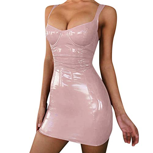 DIOMOR Sexy Night Out Club Reflective Low-Cut Sling Bodycon Dress Ladies Extreme Attractive Sheath Dresses Unique Skirt Pink