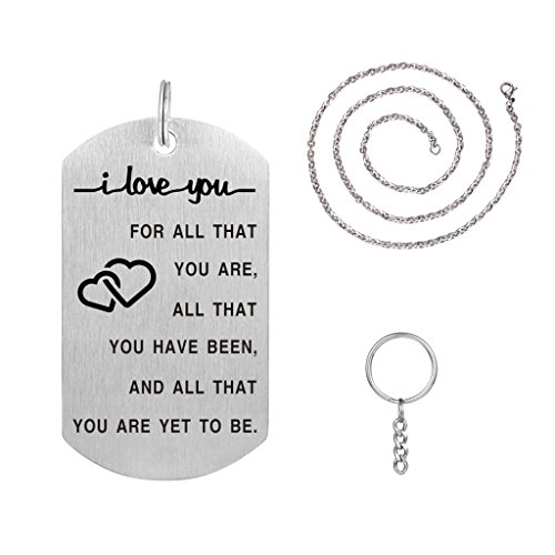 I Love You For All That You Are Pendant Necklace with Key Ring Amazing Handmade Gift (Key Love Necklace)