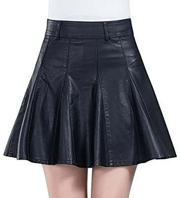 chouyatou Women's Casual Side Zipper Flare Pleated Faux Leather Skater Skirts