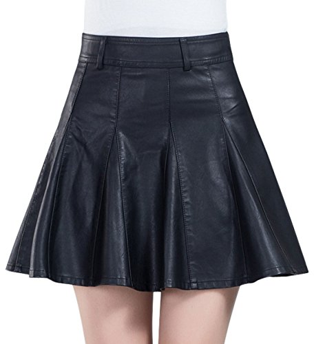 chouyatou Women's Casual Side Zipper Flare Pleated Faux Leather Skater Skirts (Medium, ()