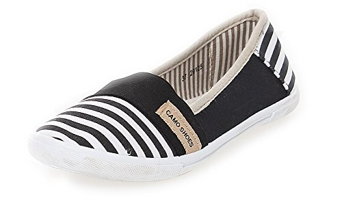 Damen Slipper Sommerschuhe Sneakers Stoffschuhe BF 125 (36, Schwarz)