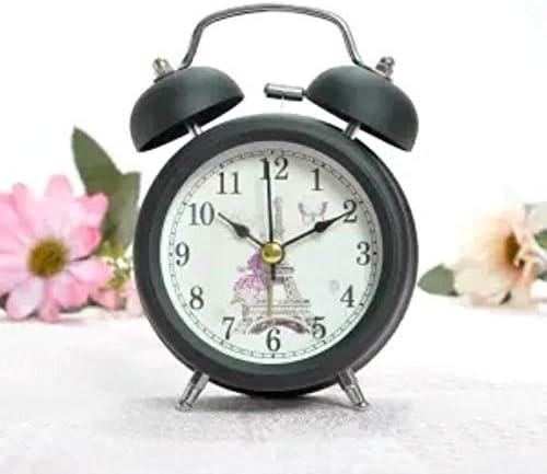 めざまし時計目覚まし時計 電波 置き時計 アナログ 大音量 目覚まし時計ミュートクリエイティブな学生単に美しいテーブルクロックかわいい夜のランプの夜の金属目覚まし時計ショーニース,3インチ