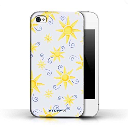Etui pour Apple iPhone 4/4S / Jaune/Blanc conception / Collection de Motif Soleil