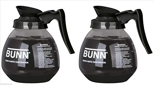 Bunn Coffee Decanter - BUNN Glass Coffee Pot Decanter/Carafe, Regular, 12 cup Capacity, Black, Set of 2
