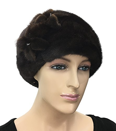 Mink Fur Beret Hat with Flowers