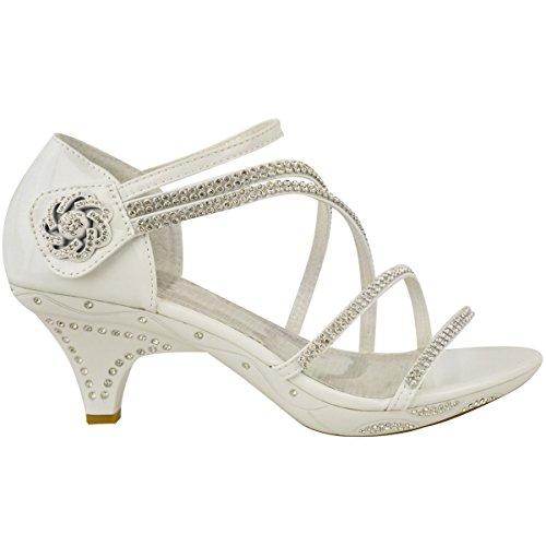 chevilles Sandales verni brides talon brides Blanc petit avec brillants à escarpins strass mariage soirée qPqOZA