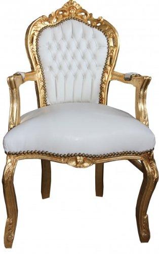 Casa Padrino Barock Esszimmer Stuhl Mit Armlehnen Weißgold