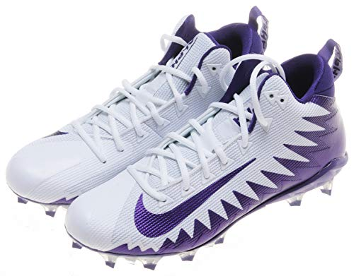 Nike Alpha Menace pro mid Mens American Football Shoes Cleats (11, White/Court Purple)