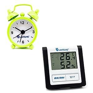 Lantelme 6007Termómetro y Analog indicador de tiempo en Juego–Digital termómetro con higrómetro min–Max pantalla y despertador verde en formato Mini
