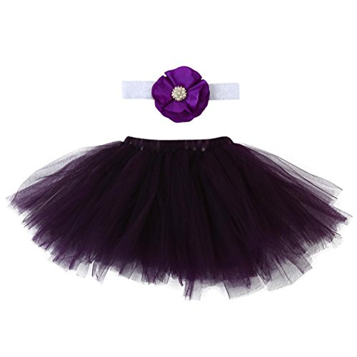 Lywey 0-3 Months Lace Set Clothes Photo Prop Anniversary Outfits (Purple D)
