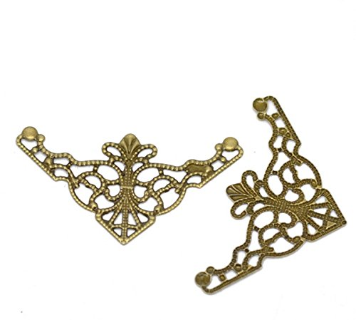 Housweety Bronze Filigree Triangle Connectors