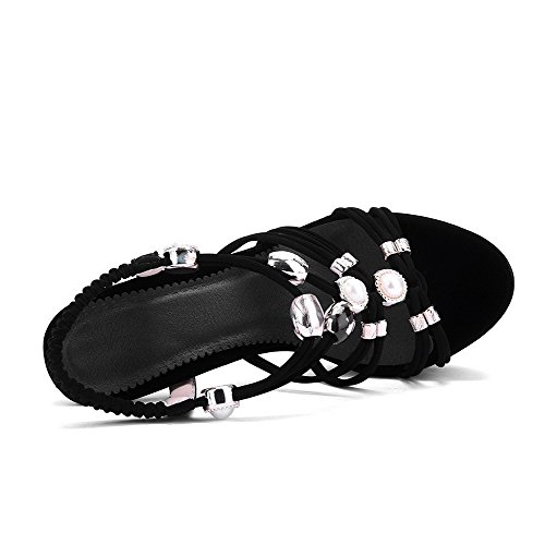 AgooLar Women's Pull On Spikes Stilettos Imitated Suede Solid Open Toe Sandals Black CbL5xz1GCh