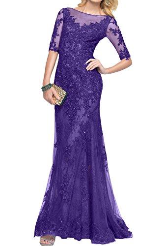 Steine Bodenlang Rund Paillette Halbarm Elegant Ivydressing Partykleider Violett Mutterkleider Spitze YZxRF6