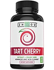 Tart Cherry Extract Capsules with Celery Seed - Advanced Uric Acid Cleanse for Joint Comfort, Healthy Sleep Cycles & Muscle Recovery - Potent Polyphenols Supplement - 60 Veggie Capsules.