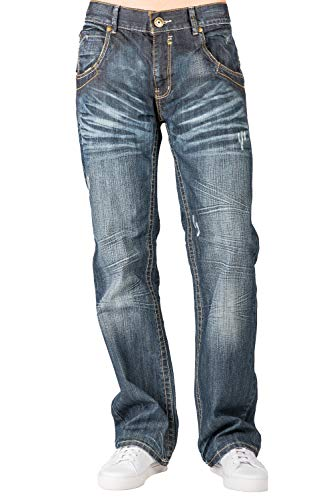 (Level 7 Men Relaxed Bootcut Premium Denim Distressed Jean Zipper Utility Pocket Size 40 X 32)