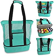 Mesh Beach Tote Bag with Cooler Insulated Detachable Picnic Pool Bag Large Beach Tote Bag Cooler Leak-proof