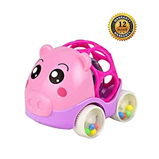 ZHFUYS Baby Toys for 3 to 24 Months,Rattle and roll car,Baby Hand Grab Toy car,4.5 inch (Pig(Red))