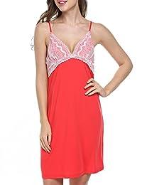 Ekouaer Sleepwear Womens Sexy Nightgown Lace Lingerie Dress Slip Chemise
