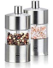 Myle Mini Stainless Steel Salt and Pepper Grinder Set 2 in 1, Adjustable Coarseness Ceramic Grinder, Portable Handy Spice Pepper Mill Shaker for Travel, Breakfast, BBQ
