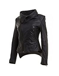 Number Seven Ladies Leather Biker Moto Jacket for Women