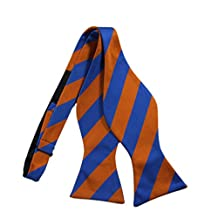 Dark Orange & Blue Striped Bow Tie Set - Cufflinks Hanky (Bow Tie ONLY)