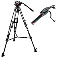 Manfrotto 504HD VD Fluid Video Head with 546B Aluminum Tripod Legs, Bundle - with RC Standard Pan Bar Ex Remote Control for LANC Sony & Canon Cameras, Black